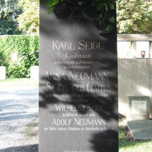 Jüdischer Friedhof Grabstein Seidl und Neumann